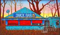 Old Mill Snack Bar, Paramus, NJ, framed oil painting on linen (Artist: Mark Oberndorf)