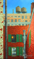 Lower East Side View,NYC, NY, framed oil painting on linen (Artist: Mark Oberndorf)