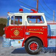 Wyckoff Fire Truck, Wyckoff, NJ, framed oil painting on linen (Artist: Mark Oberndorf)