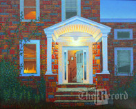 Doorway at Twilight, Fair Lawn, NJ, framed oil painting on linen (Artist: Mark Oberndorf)