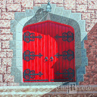 Church Door, Paramus, NJ, framed oil painting on linen (Artist: Mark Oberndorf)