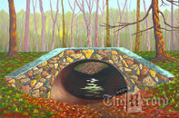 Saddle River Park Culvert, Ridgewood, NJ, framed oil painting on linen (Artist: Mark Oberndorf)