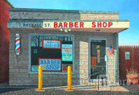 Passaic Street Barber Shop, Rochelle Park, NJ, framed oil painting on linen (Artist: Mark Oberndorf)