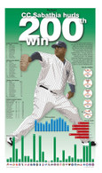 "CC Sabathia ""Hurls 200th Win"" 13x22 Record Stat Poster"