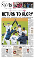 """NY Yankees """"Return to Glory"""" 2009 World Series Victory Sports Front Page Reprint"""