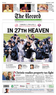 """NY Yankees """"In 27th Heaven"""" 2009 World Series Victory Front Page Reprint"""