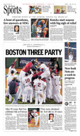 "Boston Red Sox ""Boston Three Party"" 2013 World Series Victory Sport Page Reprint"