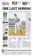 "Derek Jeter ""One Last Hurrah"" Stadium Finale Sports Front Page Reprint"