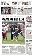 "Paramus Catholic ""Game of His Life"" Sports Front Page Reprint"