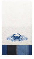 "Terry Cloth Embroidered Crab Towel - 24"" x 14"""