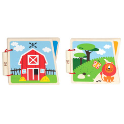 Hape At the Farm & At the Zoo Baby Wooden Books
