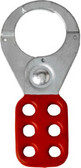 1.5 inch opening Hasp for Lockout - Tagout. Standard style, steel with Red rubberized coating