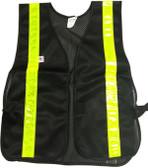 Soft Mesh Black Vests Lime Stripes
