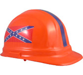 Confederate Flag Hard Hat With Pin Lock Suspensions