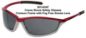 Crews Shock Safety Glasses Crimson Frame with Fog Free Smoke Lens