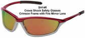 Crews Shock Safety Glasses Crimson Frame with Fire Mirror Lens