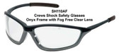 Crews Shock Safety Glasses Onyx Frame with Fog Free Clear Lens