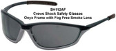 Crews Shock Safety Glasses Onyx Frame with Fog Free Smoke Lens