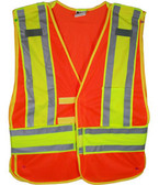 Orange Class II MESH First Responder Safety Vest Lime/Silver Stripes and 5 Point Tear-Away Standard