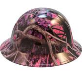Hydro Dipped FULL BRIM Hard Hat-Ratchet Suspension-Muddy Girl Pink Camo