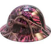 Hydro Dipped FULL BRIM Hard Hat-Ratchet Suspension-Muddy Girl Pink Camo