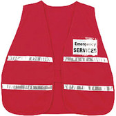 Incident Command Safety Vests, RED with Silver Stripes and Clear Pocket Front and Back