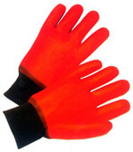Orange PVC Gloves with Foam Lining and knit wrist (sold by the dozen)
