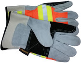 Luminator Hi-Vis Leather DOUBLE Palm with Reflective Stripes and Safety Cuff (PAIR)
