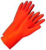 Orange Flock Lined Latex Glove (28 mil) (sold by the dozen)