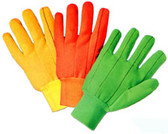 Double Palm Cotton/Polyester (Polychord) Gloves, Orange (sold by the dozen)