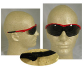 Crews Storm Safety Glasses Red Frame w/ Smoke Lens