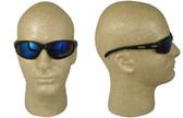 Edge Wolverine (Dakura) Safety Glasses Black Frame w/ Blue Mirror Lens