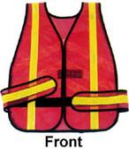 Wrap-Around Chevron Safety Vests, Orange mesh with Lime stripes