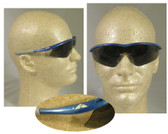 Crews Tremor Safety Glasses, Blue Frame w/ Smoke Lens