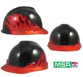 MSA Decorative V-Gard Cap Ratchet Suspension Black Fire