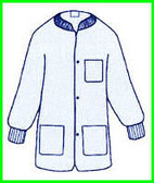 Polypropylene Lab Jacket BLUE with 3 pockets, snap front, knit collar and cuffs (30 per pack)