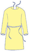 Polypropylene YELLOW Isolation Gown with Elastic Wrists, Neck and Waist Ties (50 per case), One Size