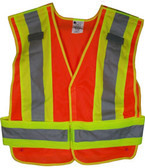 ANSI 207-2006 Public Service Safety Vests MESH Orange with Lime/Silver Stripes 5 point Velcro® Tear-Away Standard
