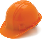 Pyramex #HP14140 4 Point Cap Style Safety Helmets with RATCHET Liners - Orange  - Oblique View