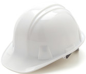 Pyramex #HP14110 4 Point Cap Style Safety Helmets with RATCHET Liners - White - Oblique View