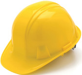 Pyramex #HP14130 4 Point Cap Style Safety Helmets with RATCHET Liners - Yellow - Oblique View
