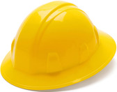 Pyramex #HP24130 4 Point Full Brim Style with RATCHET Liners - Yellow - Oblique View