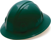 Pyramex #HP24135 4 Point Full Brim Style with RATCHET Liners - Green - Oblique View