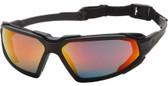 Pyramex Highlander Safety Glasses with Black Frame/Anti-Fog Sky Red Mirror Lens