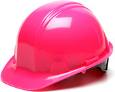 Pyramex #HP14170 4 Point Cap Style Safety Helmets with RATCHET Liners - Hi Viz Pink - Oblique View