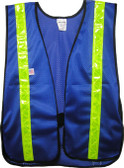 Soft Mesh Royal Blue Vests with Lime Stripes