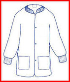 Sunlite Ultra Lab Jacket WHITE with 2 Pockets, snap front, knit collar and cuffs (30 per pack)