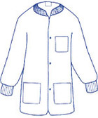 Sunlite Ultra Labcoat WHITE with 3 pockets, snap front, knit collar and cuffs (30 per pack)