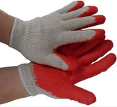 Cotton Knit Glove Dipped RED Rubber On One Side (Per Dozen)