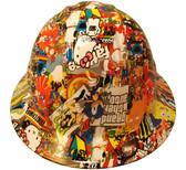 Hydrographic  FULL BRIM Hard Hat-Ratchet Suspension - Cartoon Sticker Bomb 2